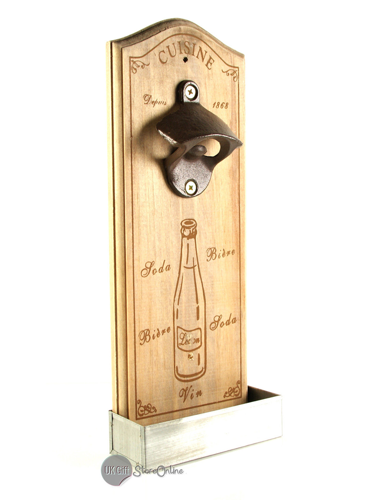 shabby vintage retro style wall mounted bottle opener cap catcher gi5551 ebay. Black Bedroom Furniture Sets. Home Design Ideas