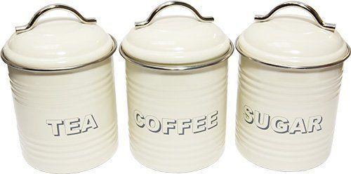 vintage style cream tea coffee sugar kitchen storage. Black Bedroom Furniture Sets. Home Design Ideas