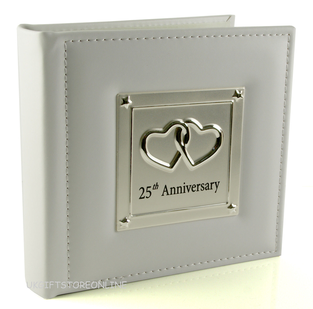 leather and silver 25th wedding anniversary photo album fs70625n