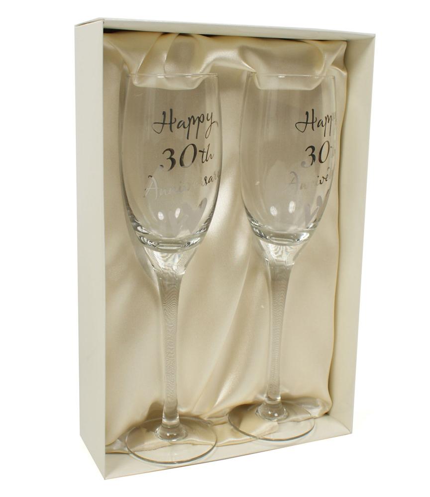 30th PEARL WEDDING ANNIVERSARY GIFT CHAMPAGNE GLASSES G31730