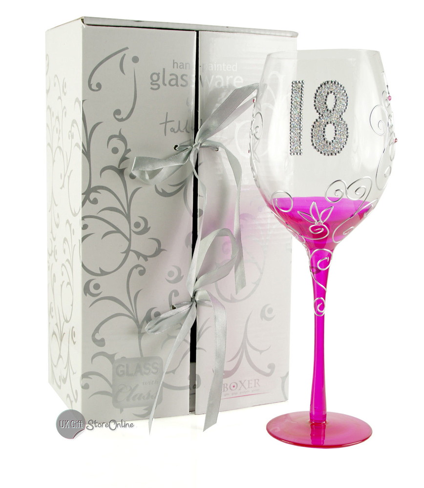 18th BIRTHDAY GIFT LARGE HAND BLOWN WINE GLASS IN LINED
